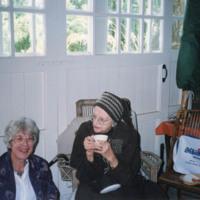Sybil Spencer and Frances Webb in Garage - YGA00199<br /><br />