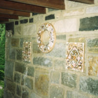 Shell collages on Potting Shed wall - YGA00314