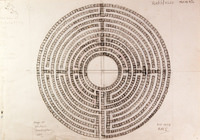 Pencil Sketch of Maze at  Hilton Huntingdon - YGA00952